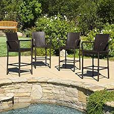 Premium Poly Patios Complaints by Amazon Com Set Of 4 Stewart Outdoor Brown Wicker Barstool