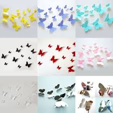 Hot Paper Crafts 12 Pcs Multicolor Stereoscopic Beauty Butterfly Romantic 3D Wall Living Kids Home