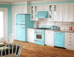 Quirky Contemporary Kitchen Color Idea Using Blue And White Scheme Brick Backsplash Also Inside Decor