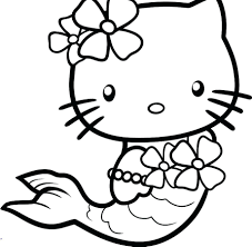 Free Coloring Pictures Hello Kitty Pages Online Mermaid Full Size