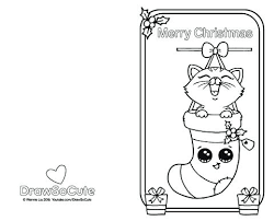 Christmas Kitten Coloring Pages Cards Sheets Card Draw So Cute Download Kitty Cat