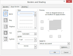 Click The Page Borders Tool In Background Group Word Displays And Shading Dialog Box Border Tab Is Already Selected