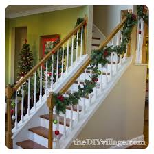 Christmas Banister Garland - The DIY Village Remodelaholic Stair Banister Renovation Using Existing Newel How To Install Baby Gates On Stairway Railing Banisters Without My Humongous Diy Stairs Fail Kiss My List Stair Banister Rails The Part Of For Installing A Gate Drilling Into Insourcelife Pipe And Wood Hand Rail Made From Scratch Custom Rustic Wood 25 Best Painted Ideas Pinterest Makeover Gel Stain Handrails Your Home Translatorbox Best Railings Railings What Do You Need Know About Staircase Design 30th March 2017 Black
