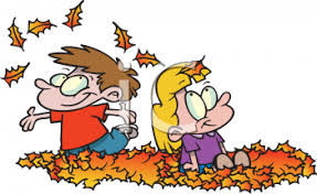 0511 1001 0420 5039 Kids Playing in a Pile of Fall Leaves clipart image