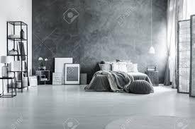geräumiges loft schlafzimmer mit minimalistischem grauen dekor und metallmöbeln