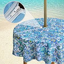 Round Patio Tablecloth With Umbrella Hole by Amazon Com Outdoor Tablecloths Umbrella Hole With Zipper Patio