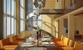 Modern Dining Room With Wide Windows Table Set Spiral Staircase And Fireplace Stock