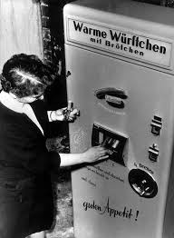 Vending Machine Selling Hot Sausages Presented At The Industries Fair In Berlin Germany Circa