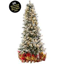 8ft 24m Slim Snow Flocked Spruce Pre Lit Christmas Tree With 500