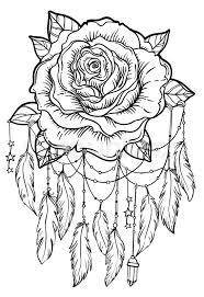 Dream Catcher With Rose Flower Detailed Vector Illustration Isolated On White Blackwork Tattoo Flash Mystic Symbol New School Dotwork Boho Design