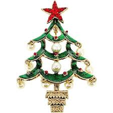 Pearl Christmas Tree Pin Swarovski Crystal Brooch And PendantChain Not Included