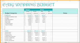 Sample Wedding Budget Spreadsheet Excel