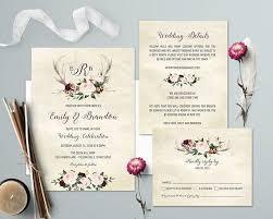 Rustic Wedding Invitations Deer Antler Blush Floral Barn Wood Invite Set Printed Or DIY
