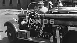 Men Park Drive Firetruck Volunteer Fire Department 1940s Vintage ...