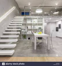 100 Mezzanine Design Loft Apartment With White Mezzanine Staircase Table Chairs