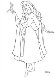 Princess Aurora With Bird Coloring Pages Sleeping Beauty