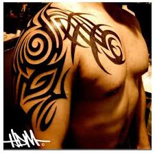 Tribal Tattoo Chest Piece Shoulder Cap Black White