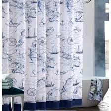 Cool Blue and White Nautical Anchor Shower Curtains