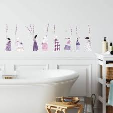 lila lavendel blumen mädchen wandtattoo 40x13cm klebebilder kinderzimmer