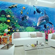 3d Wall Mural Underwater World Photo Wallpaper Interior Art Decoration Cute Dolphin Large