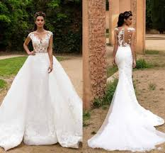 2018 Lace Mermaid Wedding Dresses Illusion Cap Sweep Tulle Applique Over Skirt Formal Bridal Gowns Ball Gown Bride Robes BA7214