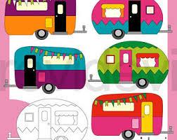 RV Clipart Camper Clip Art Camping Caravan Retro Graphic Bright Colors