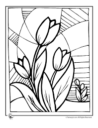 Classy Design Spring Flowers Coloring Pages Flower Tulip Page Fantasy