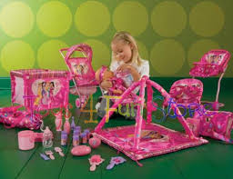 Girls Play Baby Doll Huge Set of Doll Furniture Carrier High