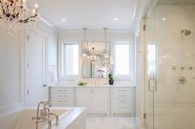 Modern Chandelier Over Bathtub by All White Master Bathroom With Chandelier Over Tub Transitional