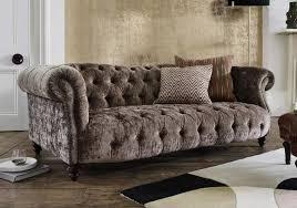 luxus chesterfield wohnzimmer braune sofa sitz polster textil couchen neu