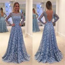 long sleeve blue lace a line open back cocktail evening party prom