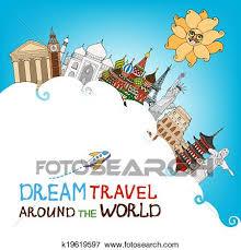 Clip Art Of Dream Travel Around The World K19619597