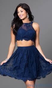 navy blue open back scalloped lace two piece party dress