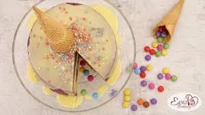 unechte eis torte mit smarties überraschung evasbackparty