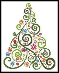 This Counted Cross Stitch Pattern Of An Abstract Christmas Tree Was Created From Image Copyright Ma Rish Only Full Stitches Are Used In