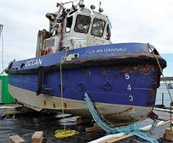 Tug Boat Sinks by Tug Sinks In St Lawrence River As Barge Swings On Anchoring Pylon