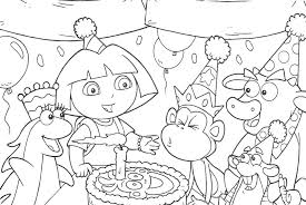 Dora The Explorer Happy Birthday Coloring Pages All Friends
