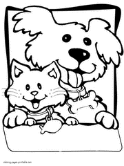 Dogs And Cats Coloring Pages 19 Dog Cat