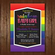 Rainbow Baby Shower Invitations Girl Tags Pinterest Baby