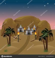 100 Desert Nomad House Camp In Desert Landscape Scene Stock Vector