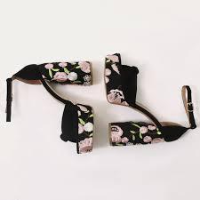 Backbite Embroidered Knot Detail Teardrop Heel Platforms In ...