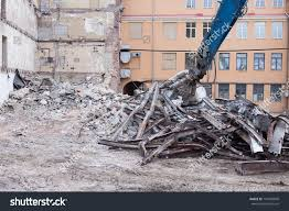 Demolition Truck Action Heap Rubble Demolished Stock Photo (Edit Now ...