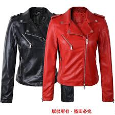 popular red black motorcycle leather jacket buy cheap red black