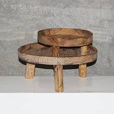 Rustic Wooden Cake Stands Set