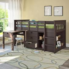 corliving madison twin loft bed with desk and storage hayneedle