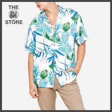 100 Coco Republic Sale Mens Spaced Out Fern Leafy Short Sleeve OpenCollar Shirt In White