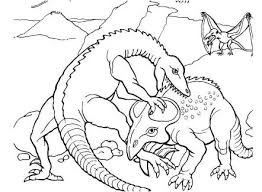 Dinosaur Protoceratops Fights Coloring Page