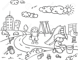 Sketch Children Active Outdoor Recreation Concept With Kids Playing On Playground Attractions And Entertaining Equipment Vector