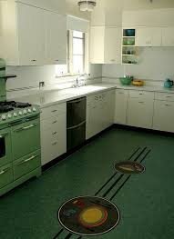 Cool Vintage Kitchen Flooring Retro Design With Unique Motif Vinyl Floor Tiles