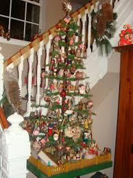 A 5 Ft Antique German Feather Tree In Magnificent Folk Art Stand You Cant Really See The Actual Trunk Fitting But It Is Paper Mache Mountain